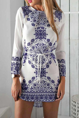 Blue And White Porcelain Pattern Dress - Dress - Rebel Style Shop
