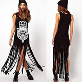 Hamsa Tassel Long Dress - Rebel Style Shop - 3