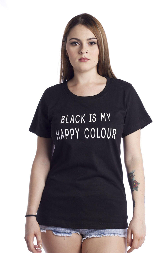 black is my happy colour t shirt rebel style shop. Black Bedroom Furniture Sets. Home Design Ideas