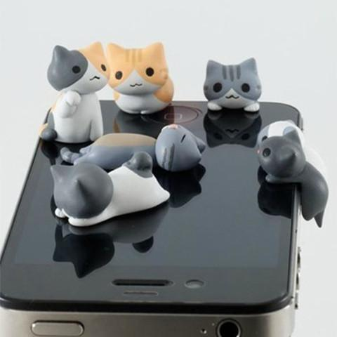 Kawaii Cat Anti-dust Plugs (6-piece set) - Mobile Phone Accessories - Rebel Style Shop