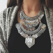 Boho Vintage Coin Necklace with Crystal