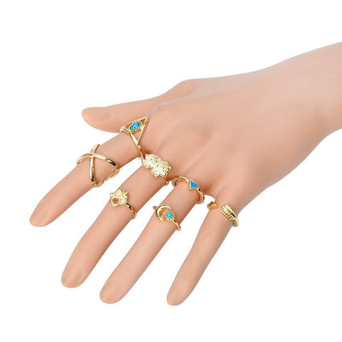 Vintage Boho 7-Piece Ring Set - Rebel Style Shop - 1