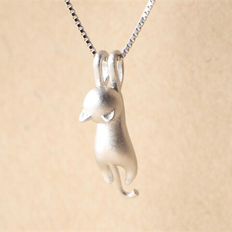 tiny silver cat pendant necklace rebel style shop