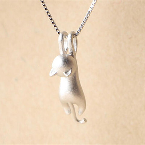 Tiny Silver Cat Pendant Necklace - Rebel Style Shop - 1