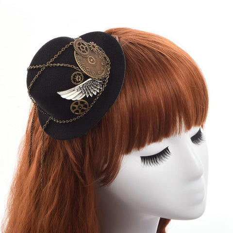 Retro Victorian Steampunk Gears Wing Mini Top Hat - steampunk hat - Rebel Style Shop