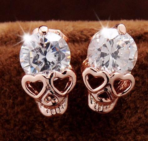 CZ Skull Stud Earrings - Rebel Style Shop - 1