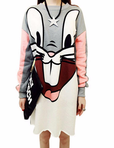 Bunny Printed Dress - Dress - Rebel Style Shop