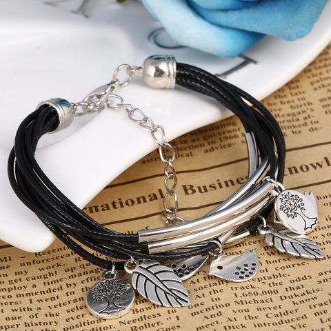 Leaves Multi-layer Charm Bracelet