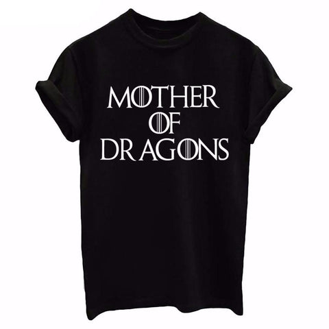Mother Of Dragons Black Printed T-Shirt for Women
