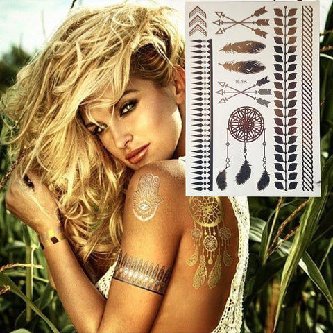 Free Spirit Gold Metallic Temporary Tattoos - gold tattoo - Rebel Style Shop