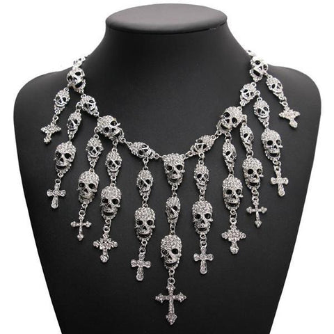 Skulls and Crosses Statement Necklace