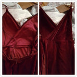 Crushed Red Velvet Backless Floor Length Dress