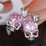 Silver Skull With Crown Stud Earrings - Earrings - Rebel Style Shop