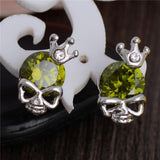 Silver Skull With Crown Stud Earrings