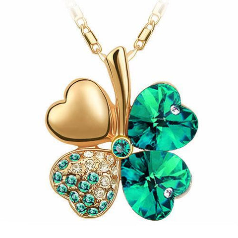 Clover Heart Pendant Necklace - necklace - Rebel Style Shop