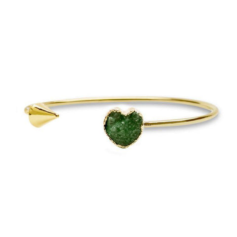 Heart Shape Open Druzy Cuff - Bracelet - Rebel Style Shop