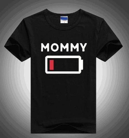 Black Matching Battery Shirts for Mommy, Daughter, Sons