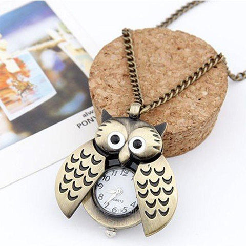 Steampunk Owl Pocket Watch Necklace - pocket watch - Rebel Style Shop