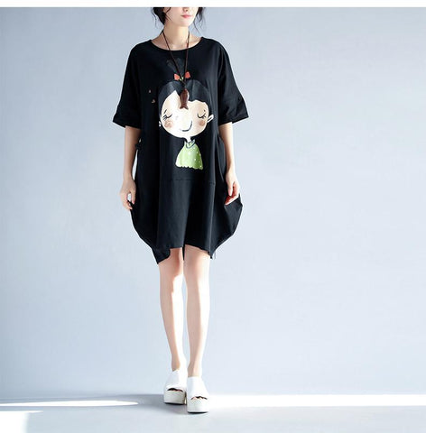 Kawaii Girl Print Oversized T Shirt Dress
