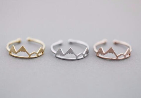 Gold, Silver and Rose Colored Mountain Rings - rings - Rebel Style Shop
