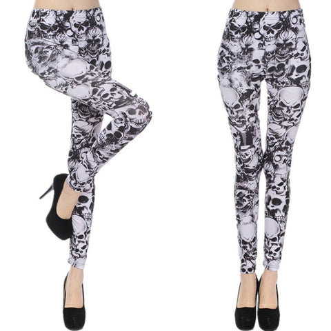 Black And White Skull Goth Leggings - Leggings - Rebel Style Shop