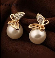 Butterfly Pearl Earrings - Earrings - Rebel Style Shop