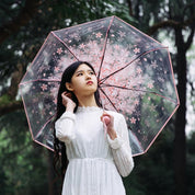 Floral Clear Umbrella - umbrella - Rebel Style Shop