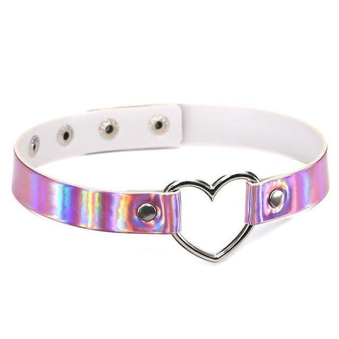Holographic Leather Heart Choker - Choker - Rebel Style Shop