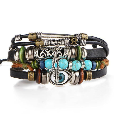 Evil Eye Multi-Layer Leather Wrap Bracelet