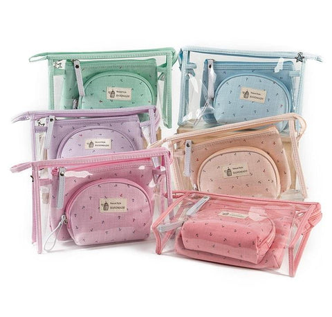 3 Piece Pastel Make Up Bag - Makeup bag - Rebel Style Shop