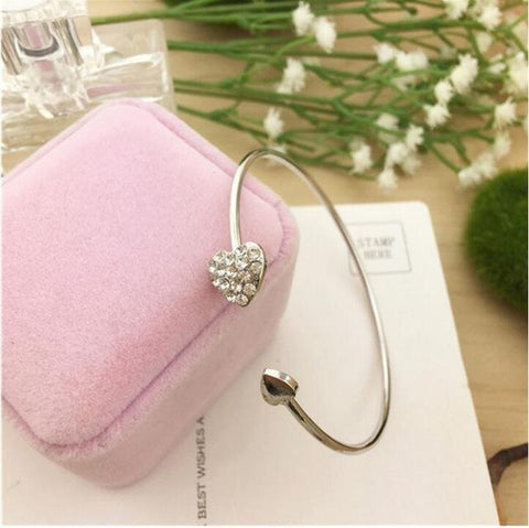 Double Heart Open Cuff Bangle