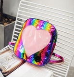 Kawaii Cute Transparent Heart Hologram Backpack