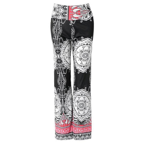 Ethnic Print Flare Yoga Pants