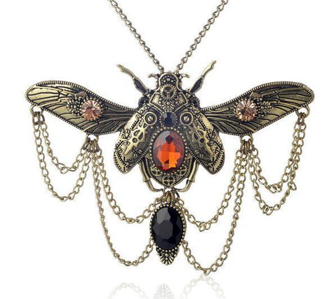 Beetle Steampunk Statement Necklace - necklace - Rebel Style Shop