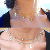 Moon and Stars Layered Necklace