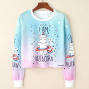 Japanese Kawaii Print Cropped Sweater
