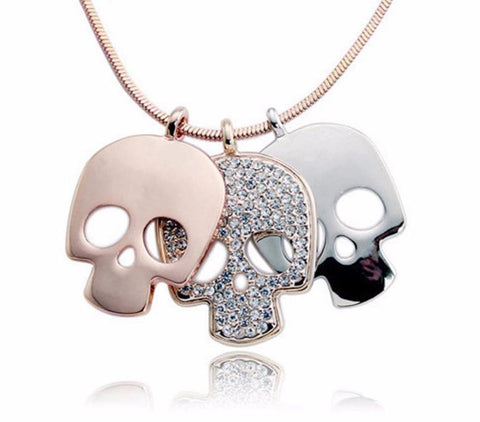 Triple Skull Pendant Necklace - necklace - Rebel Style Shop