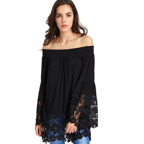 Sexy Off the Shoulder Eyelet and Lace Long Sleeved Top - Blouse - Rebel Style Shop