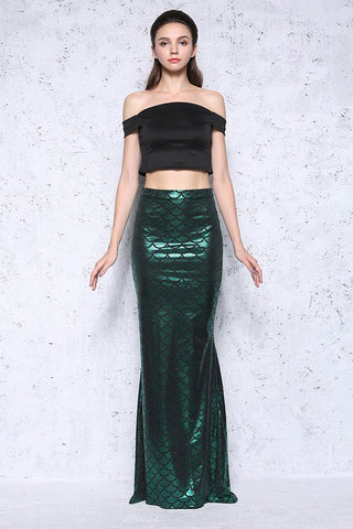 Fish Scale Mermaid Printed Long Skirt - Skirt - Rebel Style Shop
