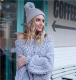 Off Shoulder Knitted Chunky Sweater