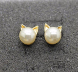 Cute Cat Pearl Earrings - Rebel Style Shop - 2