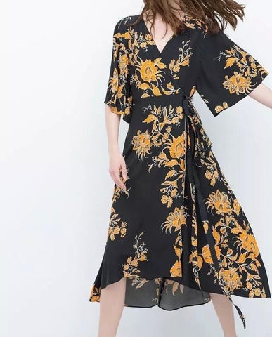 Vintage Inspired Floral Print Wrap Dress - Dress - Rebel Style Shop