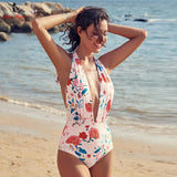 Floral Halter One Piece Swimsuit - Swimwear - Rebel Style Shop