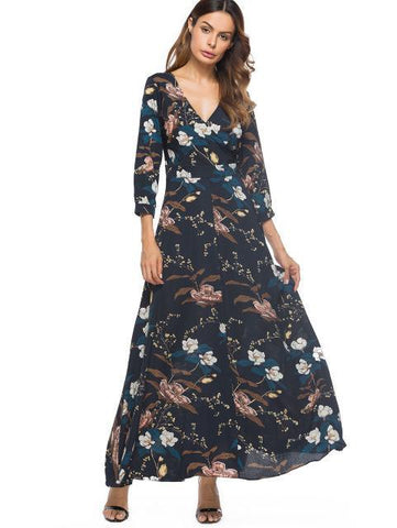 Bohemian Floral V Neck Maxi Dress with Sleeves - maxi dress - Rebel Style Shop