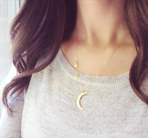 Crescent Moon and Stars Pendant Necklace - necklace - Rebel Style Shop