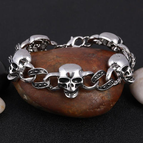Stainless Steel Chain Link Skull Bracelet - Rebel Style Shop - 1