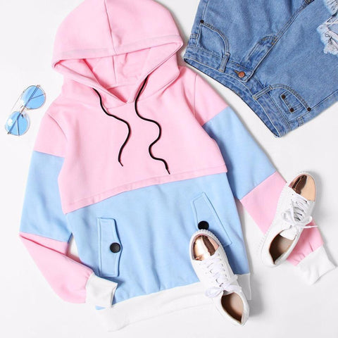 Two Tone Pastel Hoodie - hoodie - Rebel Style Shop