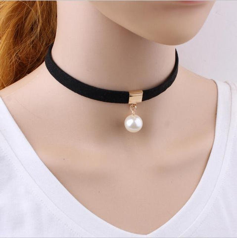 Choker with Pearl Pendant - necklace - Rebel Style Shop