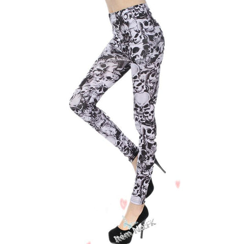 Black And White Skull Goth Leggings - Rebel Style Shop - 3