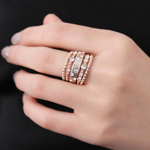 Rose Gold and Crystal 5-Piece Ring Set - Ring - Rebel Style Shop